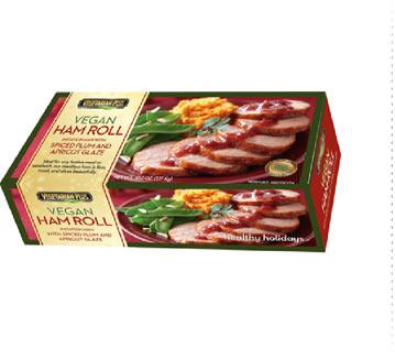 Delicious vegetarian and vegan versions of holiday foods, including Vegetarian Plus' Vegan Ham Roll.