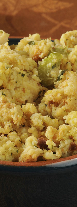 Delicious vegetarian and vegan versions of holiday foods, including cornbread stuffing with pears and pecans.