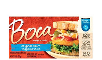 Vegetarian and vegan versions of meat, dairy, and eggs, including Boca chik'n patties.