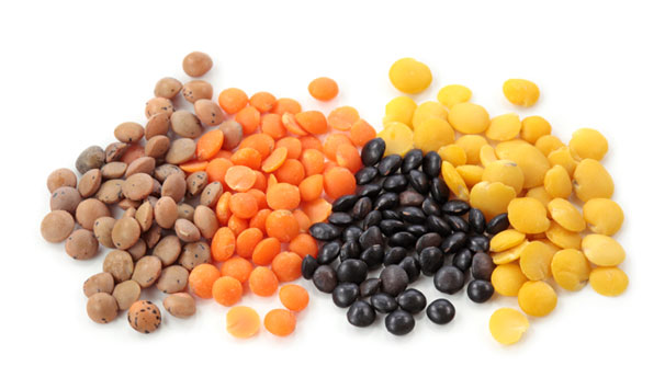 Food pyramid guide and nutrition information for a balanced vegetarian diet or vegan diet, including beans and lentils.