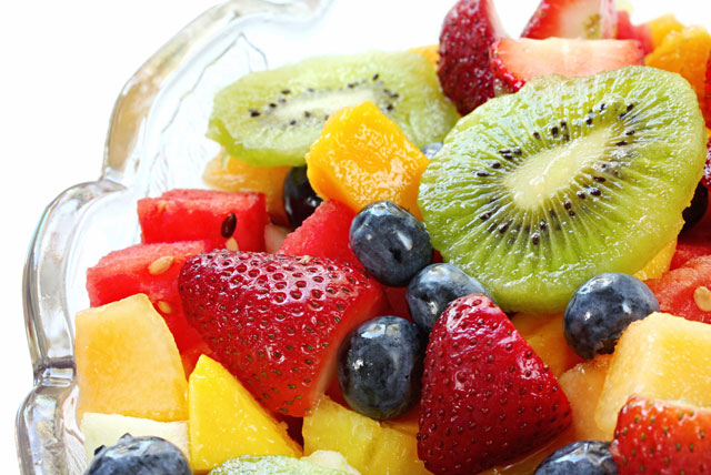 Food pyramid guide and nutrition information for a balanced vegetarian diet or vegan diet, including fruit.