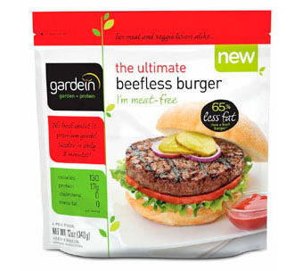 Vegetarian and vegan versions of meat, dairy, and eggs, including Gardein burgers.