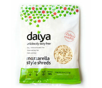 Vegetarian and vegan versions of meat, dairy, and eggs, including Daiya cheese.