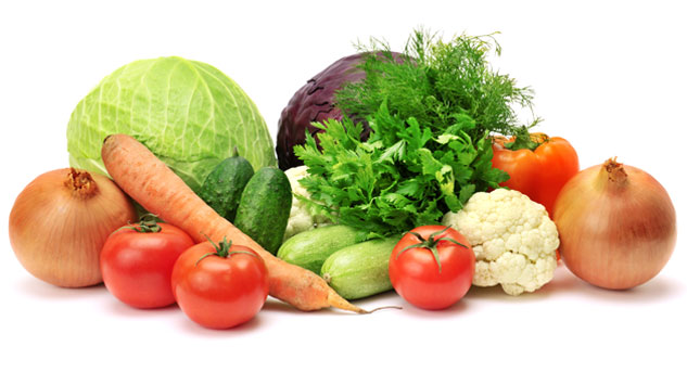 Food pyramid guide and nutrition information for a balanced vegetarian diet or vegan diet, including vegetables.