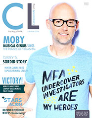Artist Moby on the cover of MFA's Compassionate Living magazine
